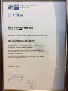 Urkunde Zertifizierter Berater Heilwesen (IHK) - Spezialmakler Bremen für Apotheken und Arztpraxen