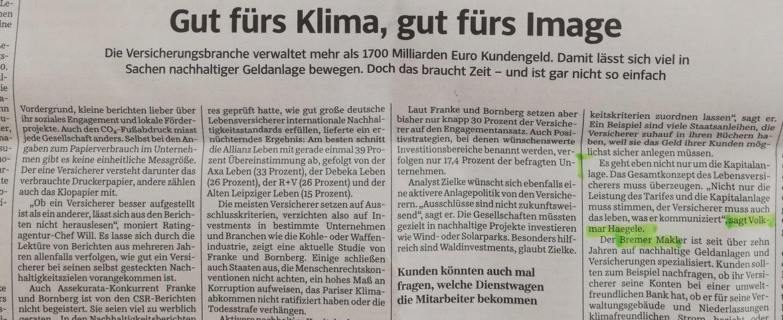 Versicherungsmakler Volkmar H. Haegele aus Bremen @ Süddeutsche Zeitung