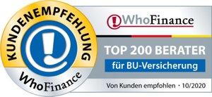 Kundenempfehlung WhoFinance top Berater für BU-Versicherung