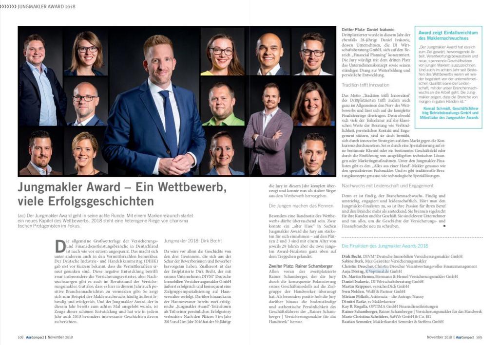 Jungmakler Award 2018, die Finalisten in AssCompact der Novemberausgabe, Marie Christina Schröders Versicherungsmaklerin