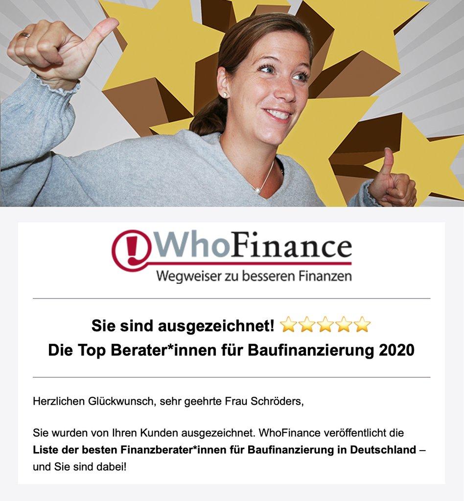 WhoFinance - Top Berater für Baufinanzierung 2020