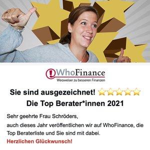 Top Beraterin 2021 - Whofinance - Bewertungen - Marie Christina Schröders SaFiVe Sachverständige für Finanzen und Versicherungen