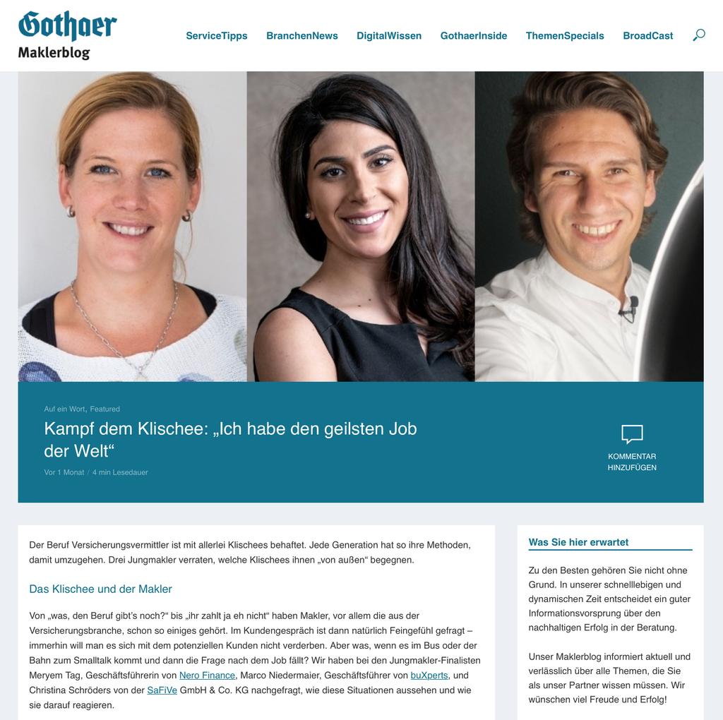 Artikel zum Klischee des Maklers mit Marie Christina Schröders SaFiVe - Versicherungsmakler Aschaffenburg